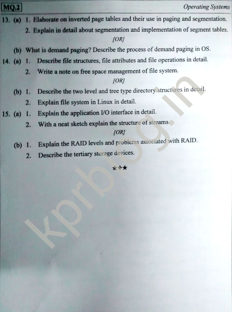 CS6401 Operating System Model Question Paper