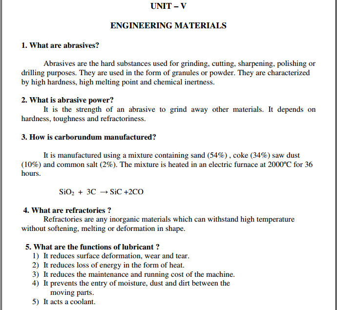 Engineering Chemistry 1 important 2 marks