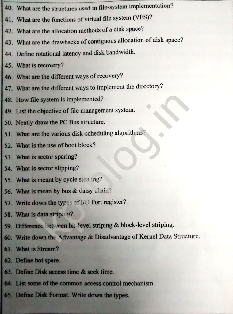 Os unit 4 Important Question