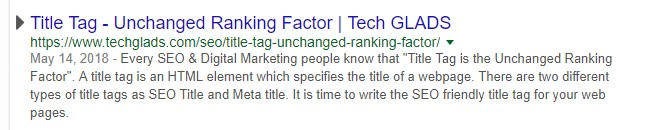 Title Tag - Unchanged Ranking Factor