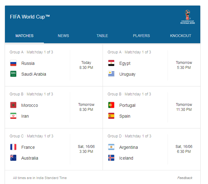 new features on google for fifa 2018 world cup