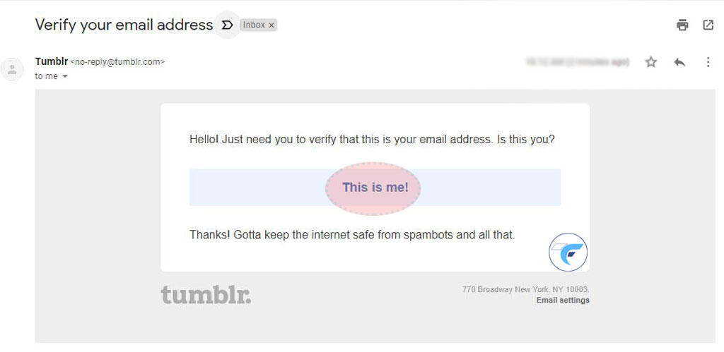 Confirmation email from tumblr