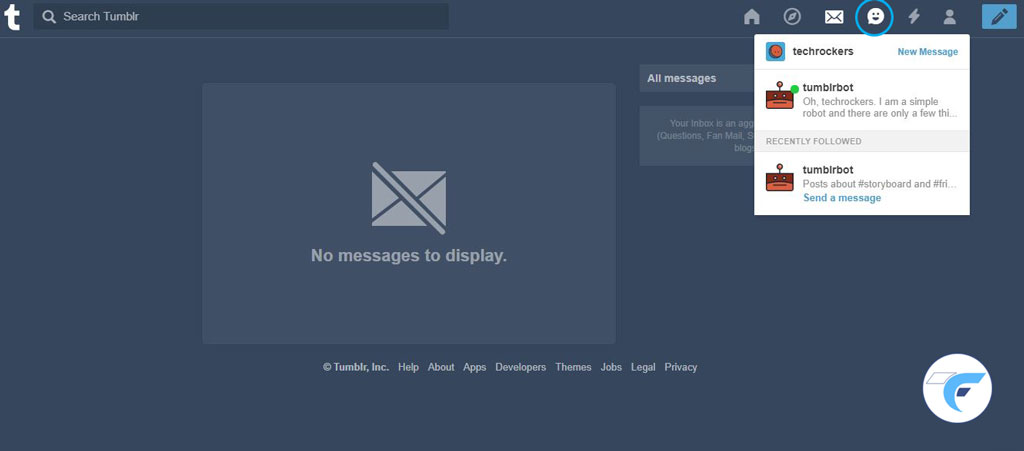 message option in tumblr