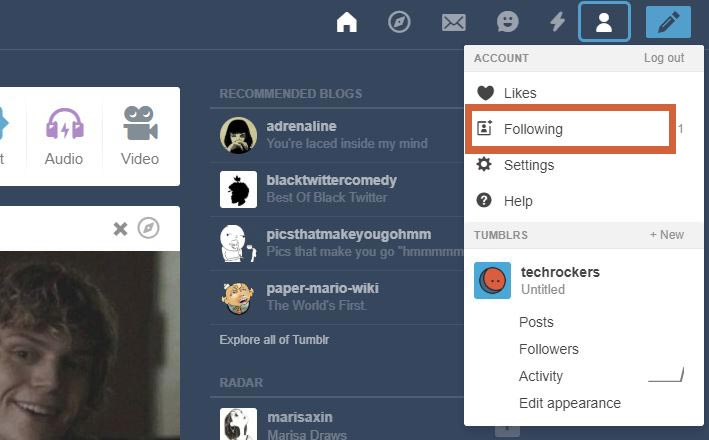 follow list in tumblr account