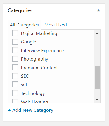 Add Categories - How to publish post in wordpress