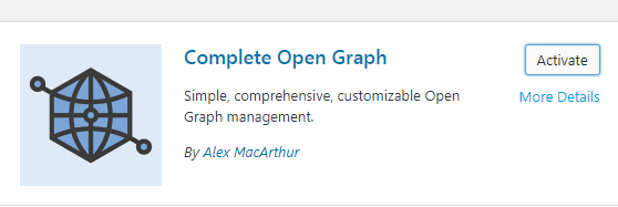 Complete Open Graph Plugin in WordPress