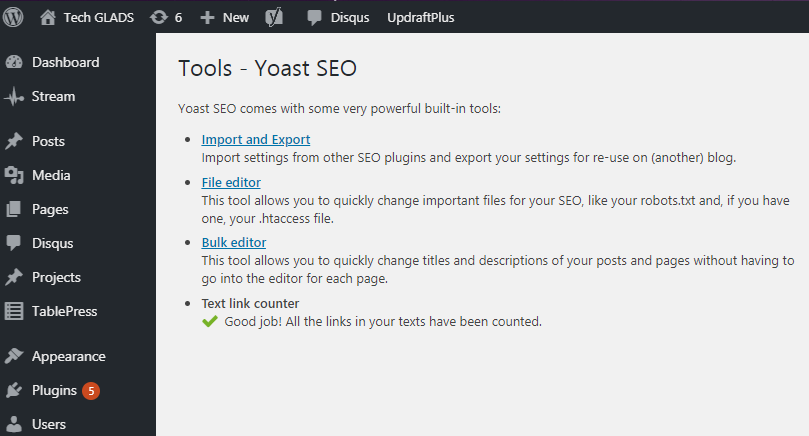 Types of tools for editing in Yoast SEO