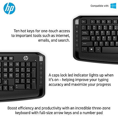 HP 3ML04AA Wireless Keyboard and Mouse Combo with hot keys