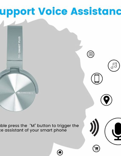 Zebronics Zeb-Smart Plus Wireless Headphone with Voice Assistant - Support Voice Assistance
