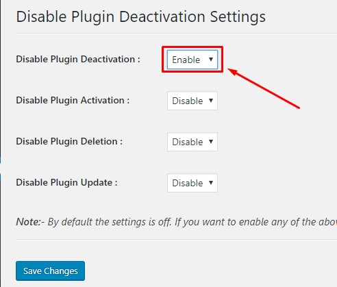 enable option for disable plugin deactivation