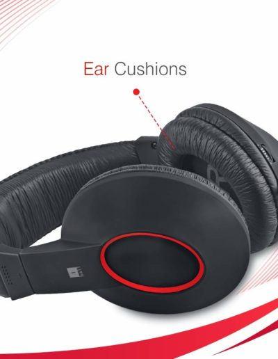 iBall EarWear Rock, Pitch Perfect Sound, Over-Ear Wired Headphones with Mic, Black & Red