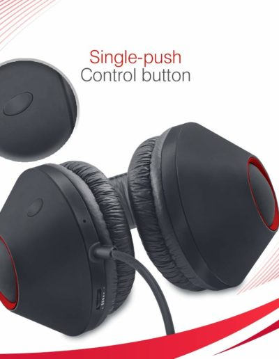 iBall EarWear Rock, Pitch Perfect Sound, Over-Ear Wired Headphones with Mic, Single Push Control Button