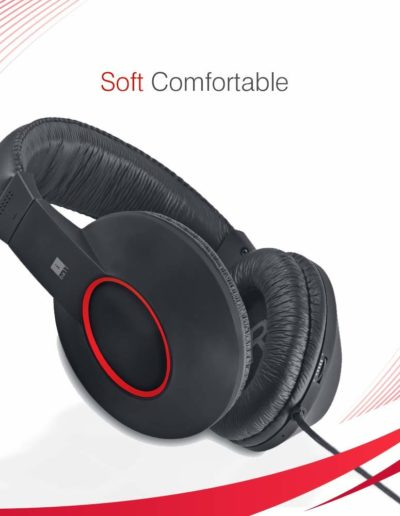 iBall EarWear Rock, Pitch Perfect Sound, Over-Ear Wired Headphones with Mic, Soft Comfortable
