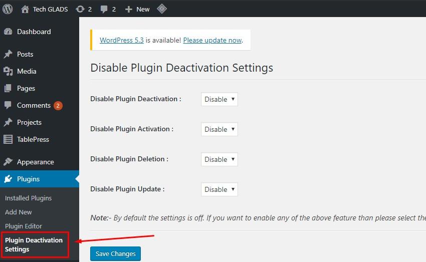 plugin deactivation settings